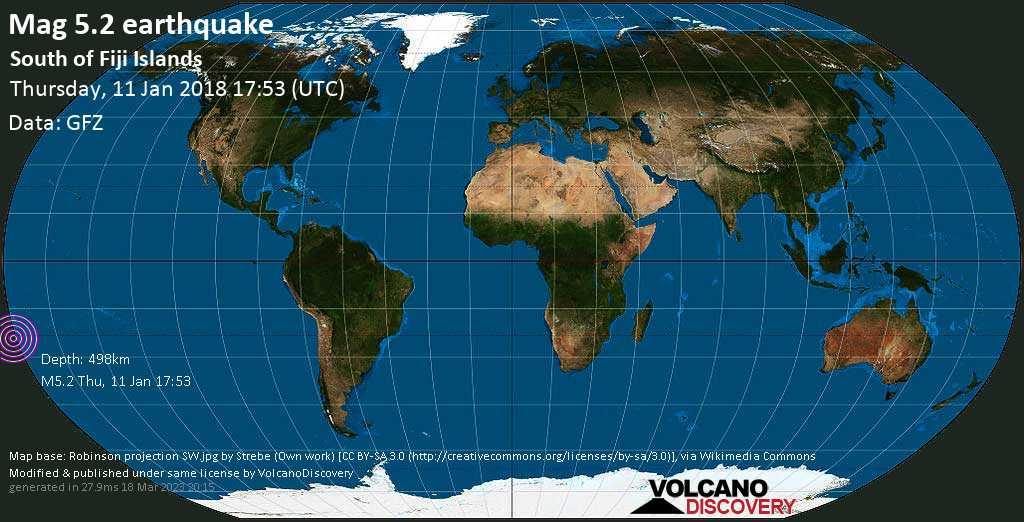 Moderate mag. 5.2 earthquake  - South of Fiji Islands on Thursday, 11 January 2018