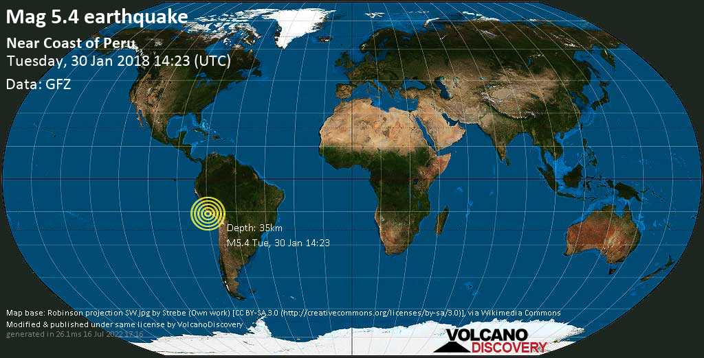 Moderate mag. 5.4 earthquake  - Near Coast of Peru on Tuesday, 30 January 2018