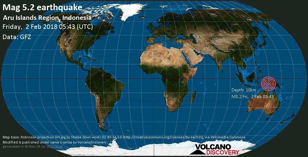 Moderate mag. 5.2 earthquake  - Aru Islands Region, Indonesia on Friday, 2 February 2018