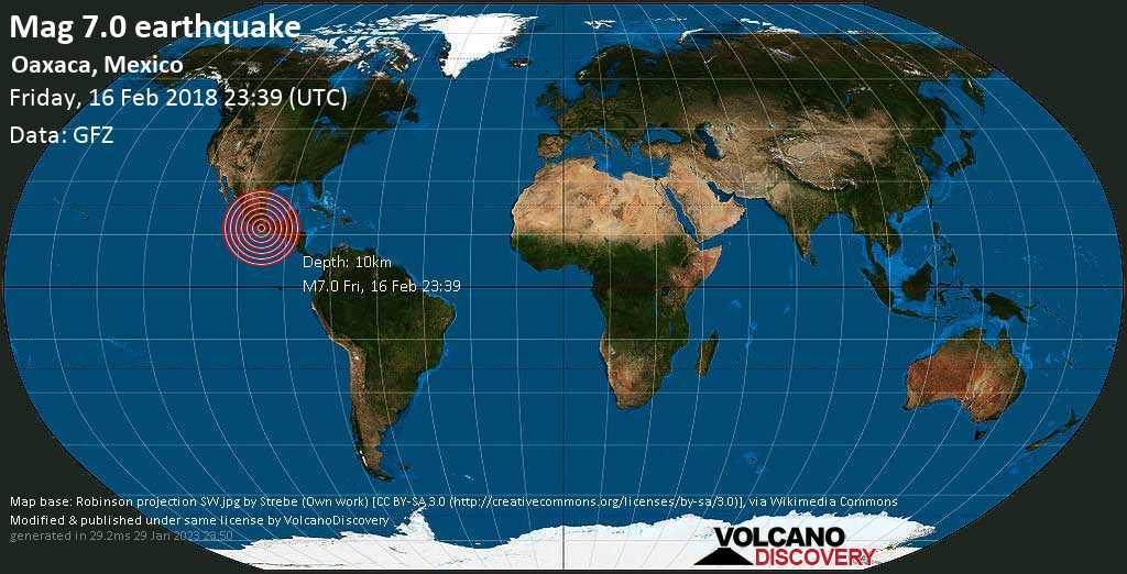 Major mag. 7.0 earthquake  - Oaxaca, Mexico on Friday, 16 February 2018