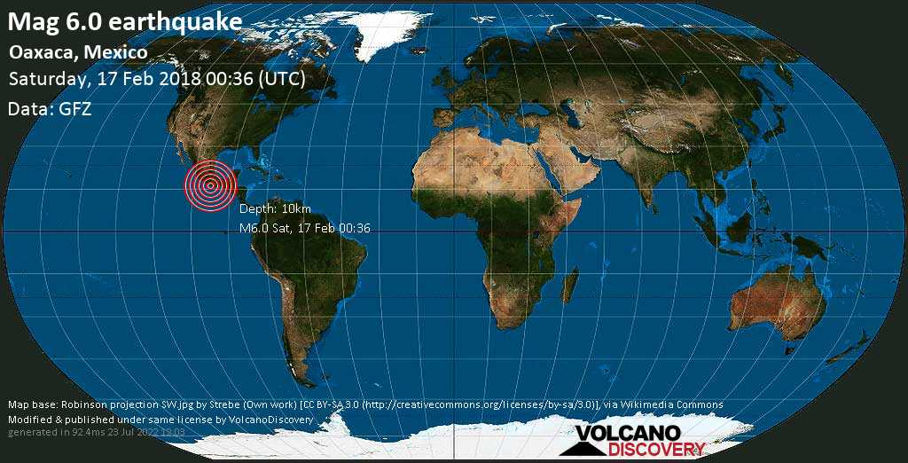 Strong mag. 6.0 earthquake  - Oaxaca, Mexico on Saturday, 17 February 2018