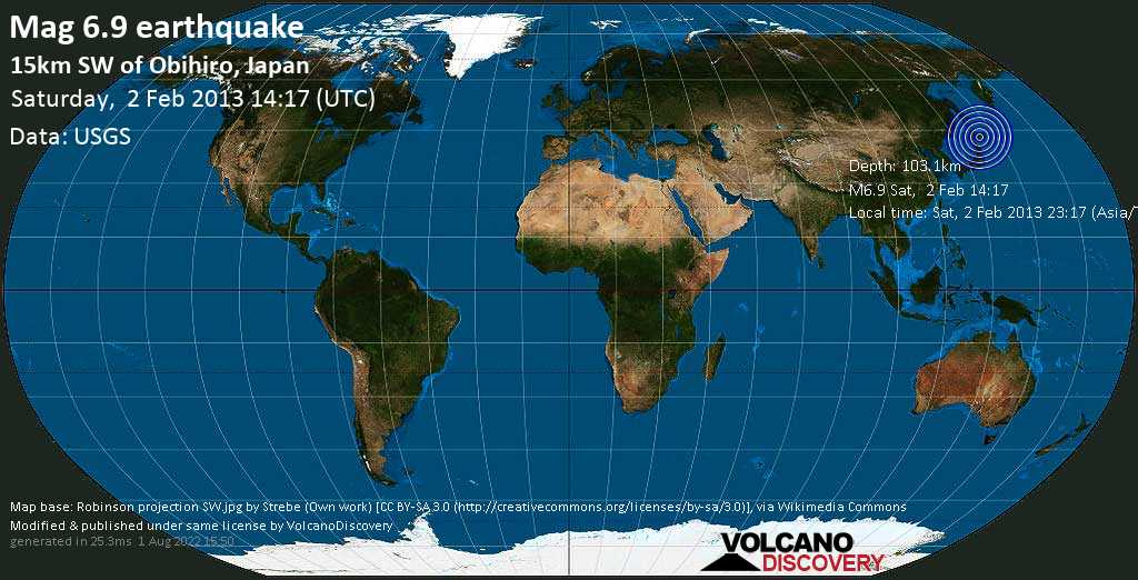 Strong mag. 6.9 earthquake  - 15km SW of Obihiro, Japan on Saturday, 2 February 2013