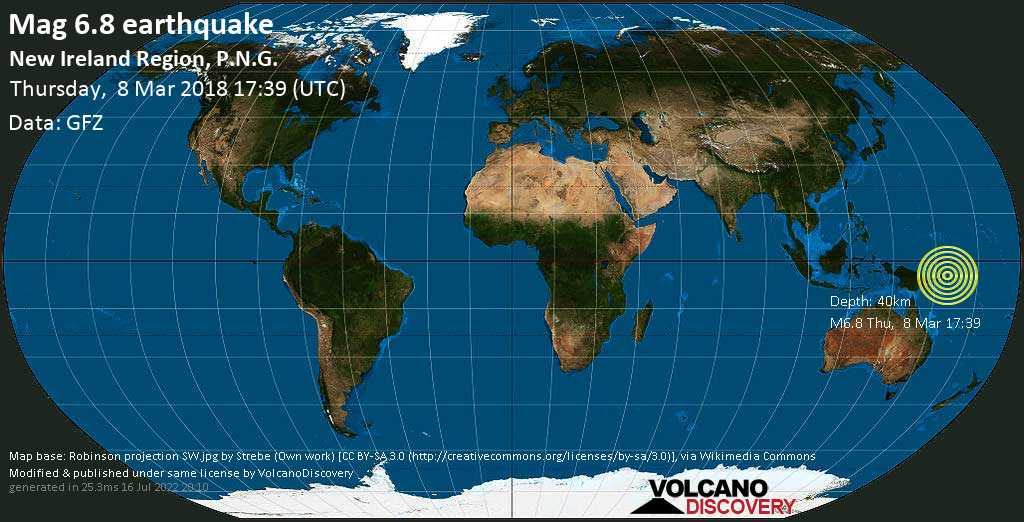 Strong mag. 6.8 earthquake  - New Ireland Region, P.N.G. on Thursday, 8 March 2018
