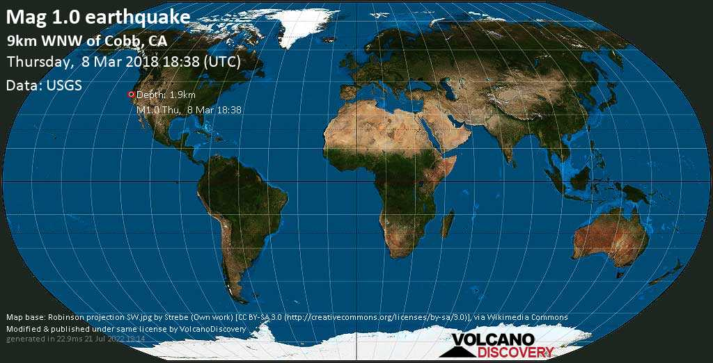 Minor mag. 1.0 earthquake  - 9km WNW of Cobb, CA on Thursday, 8 March 2018