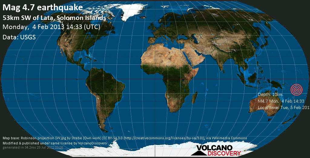 Light mag. 4.7 earthquake  - 53km SW of Lata, Solomon Islands on Monday, 4 February 2013