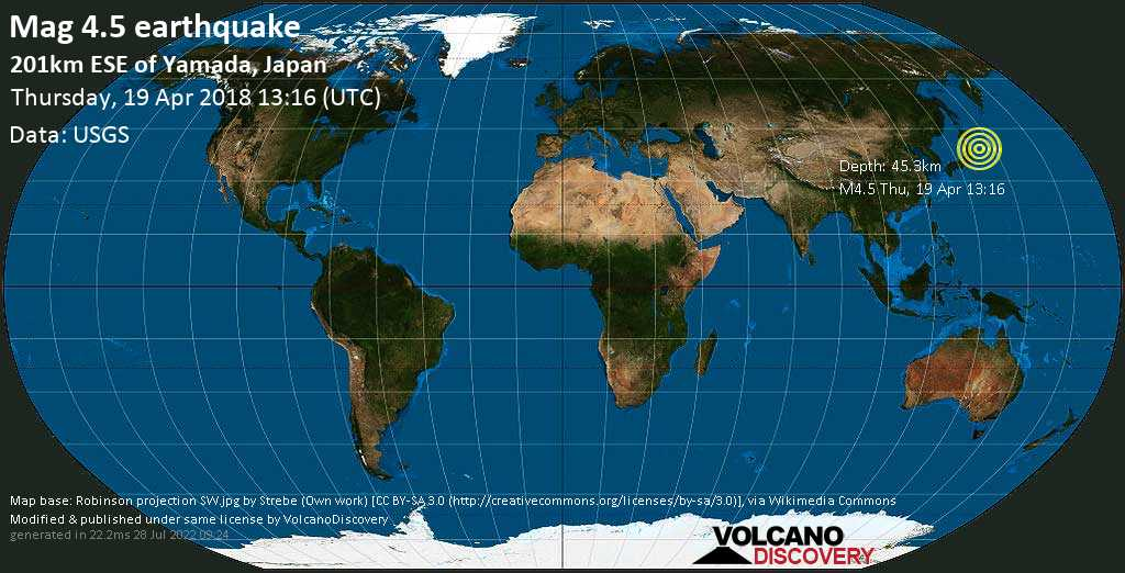 Light mag. 4.5 earthquake  - 201km ESE of Yamada, Japan on Thursday, 19 April 2018