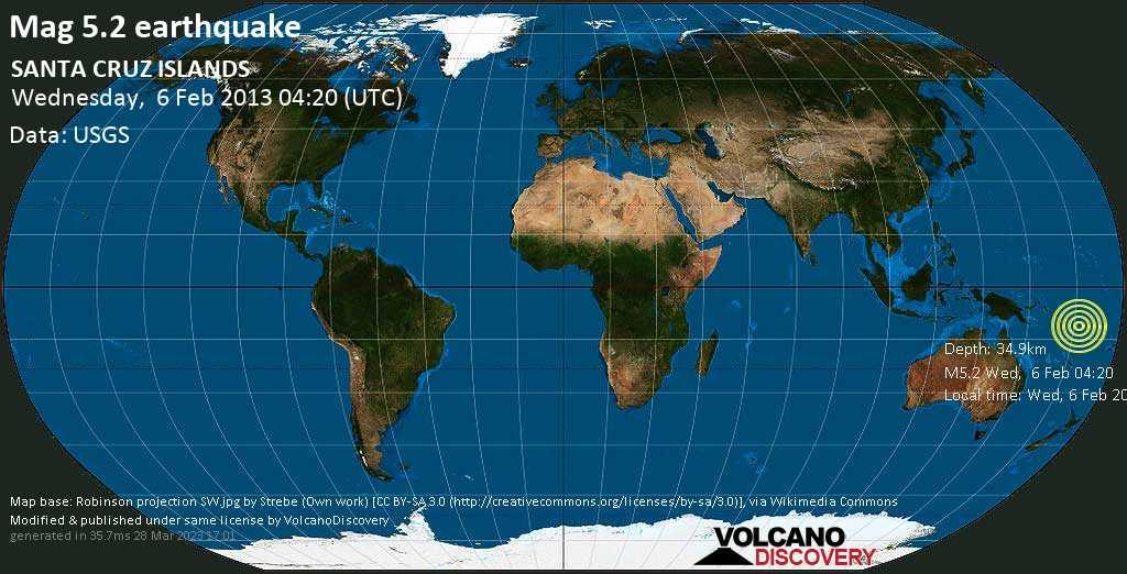 Moderate mag. 5.2 earthquake  - SANTA CRUZ ISLANDS on Wednesday, 6 February 2013