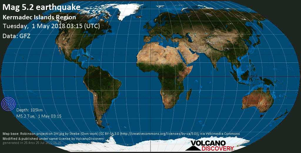 Moderate mag. 5.2 earthquake  - Kermadec Islands Region on Tuesday, 1 May 2018