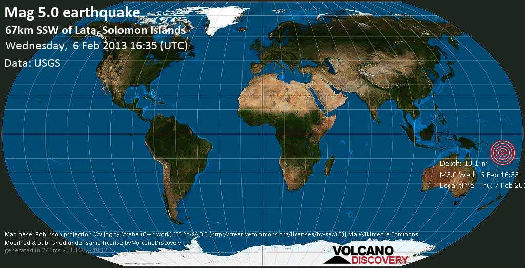 Moderate mag. 5.0 earthquake  - 67km SSW of Lata, Solomon Islands on Wednesday, 6 February 2013