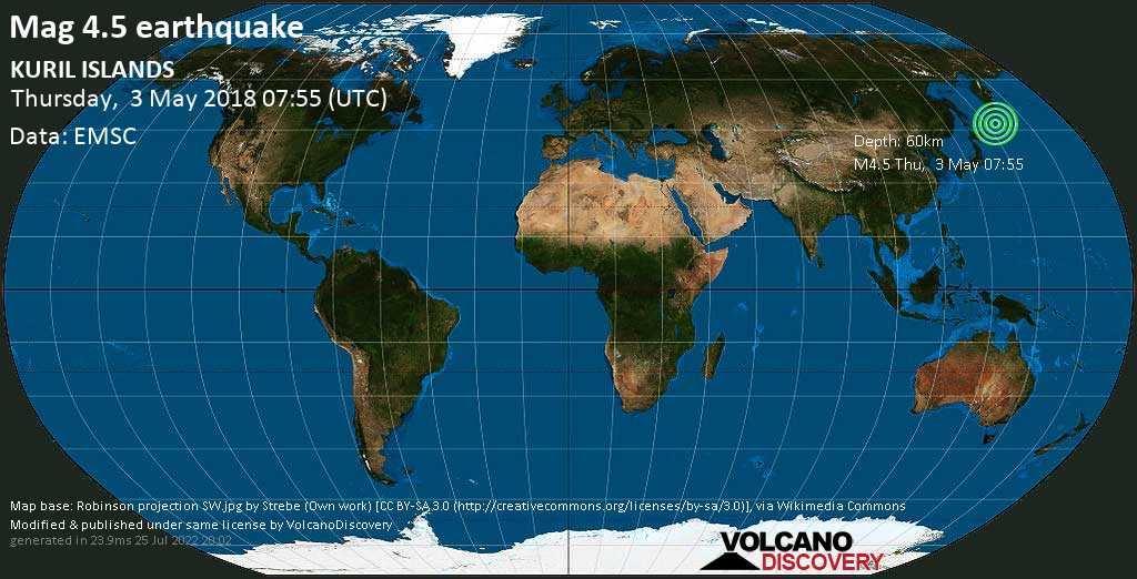 Light mag. 4.5 earthquake  - KURIL ISLANDS on Thursday, 3 May 2018