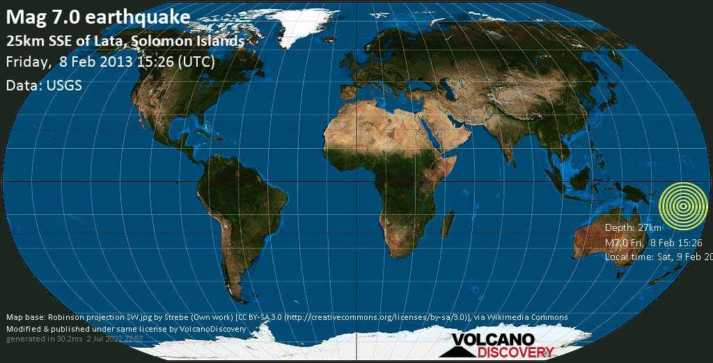Major mag. 7.0 earthquake  - 25km SSE of Lata, Solomon Islands on Friday, 8 February 2013