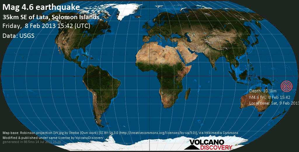 Light mag. 4.6 earthquake  - 35km SE of Lata, Solomon Islands on Friday, 8 February 2013