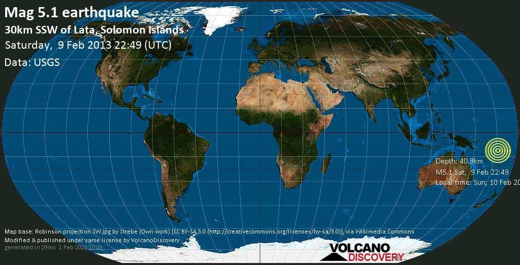 Moderate mag. 5.1 earthquake  - 30km SSW of Lata, Solomon Islands on Saturday, 9 February 2013