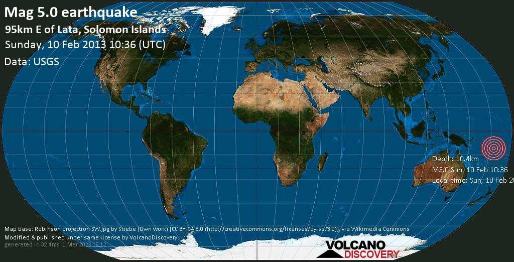 Moderate mag. 5.0 earthquake  - 95km E of Lata, Solomon Islands on Sunday, 10 February 2013