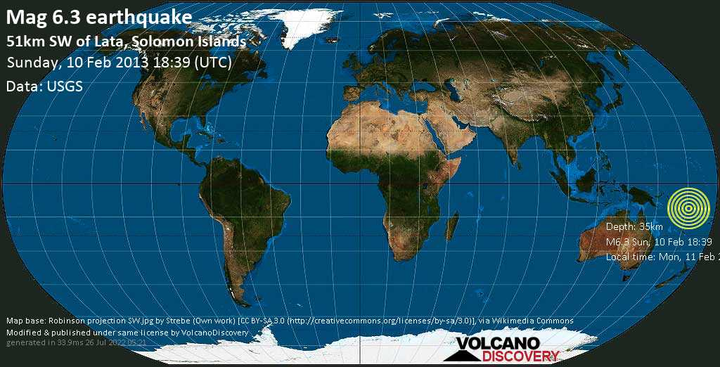 Strong mag. 6.3 earthquake  - 51km SW of Lata, Solomon Islands on Sunday, 10 February 2013