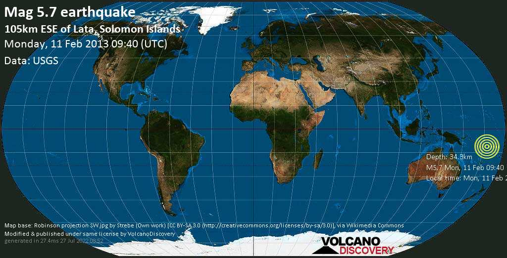 Moderate mag. 5.7 earthquake  - 105km ESE of Lata, Solomon Islands on Monday, 11 February 2013
