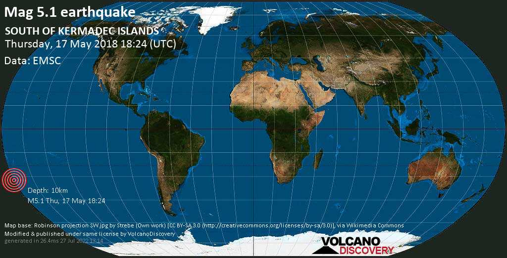 Moderate mag. 5.1 earthquake  - SOUTH OF KERMADEC ISLANDS on Thursday, 17 May 2018