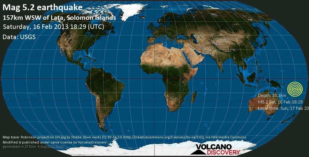 Moderate mag. 5.2 earthquake  - 157km WSW of Lata, Solomon Islands on Saturday, 16 February 2013
