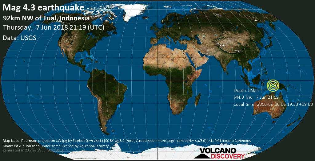 Light mag. 4.3 earthquake  - 92km NW of Tual, Indonesia on Thursday, 7 June 2018