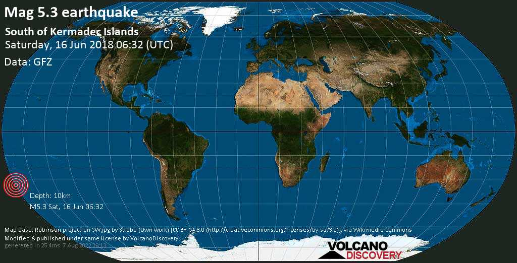 Moderate mag. 5.3 earthquake  - South of Kermadec Islands on Saturday, 16 June 2018