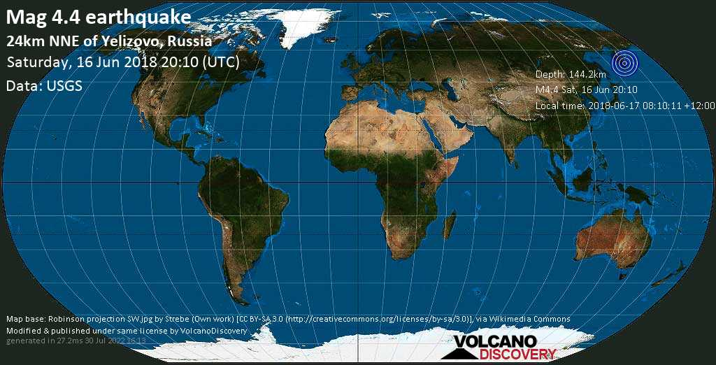 Light mag. 4.4 earthquake  - 24km NNE of Yelizovo, Russia on Saturday, 16 June 2018