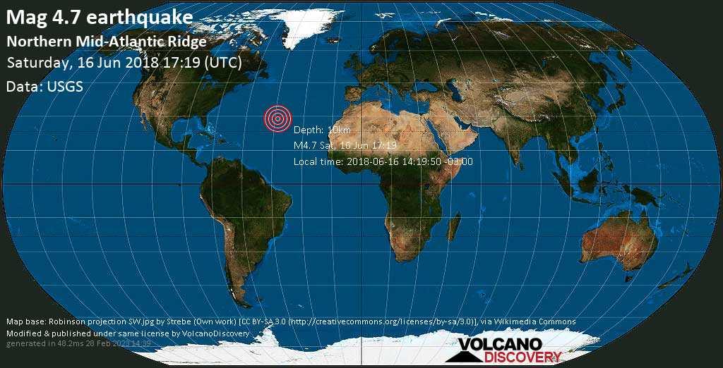 Light mag. 4.7 earthquake  - Northern Mid-Atlantic Ridge on Saturday, 16 June 2018
