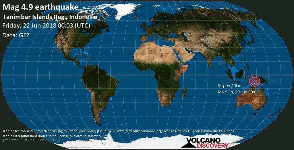 Light mag. 4.9 earthquake  - Tanimbar Islands Reg., Indonesia on Friday, 22 June 2018