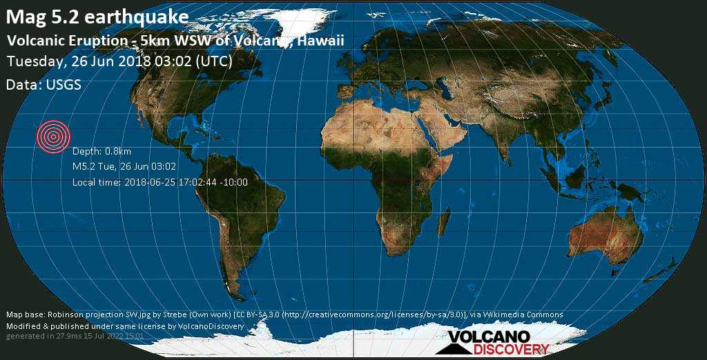 Moderate mag. 5.2 earthquake  - Volcanic Eruption - 5km WSW of Volcano, Hawaii on Tuesday, 26 June 2018