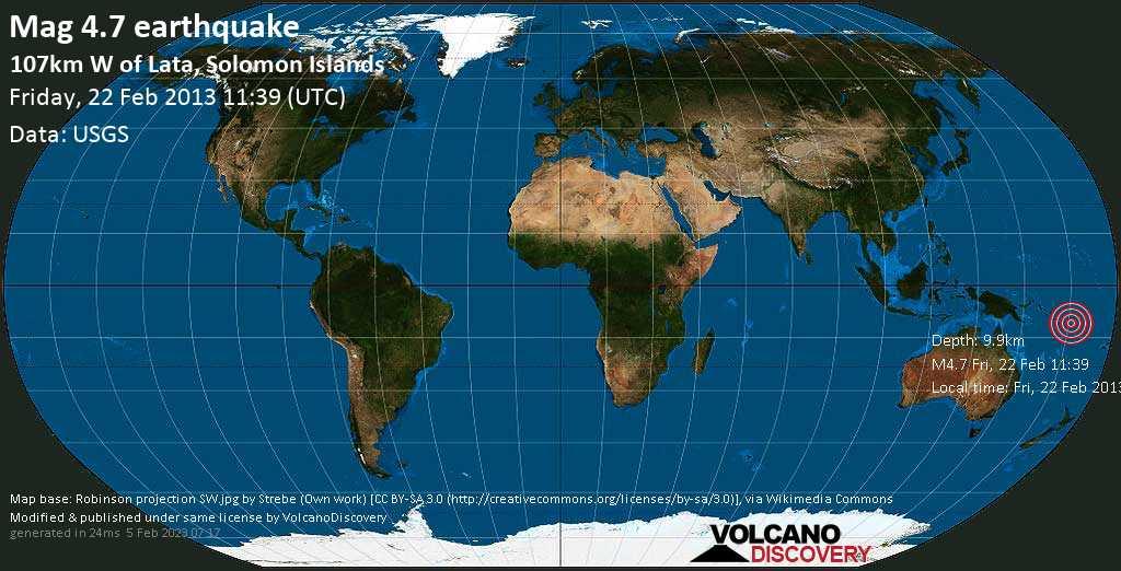 Light mag. 4.7 earthquake  - 107km W of Lata, Solomon Islands on Friday, 22 February 2013