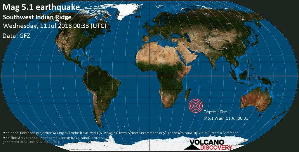 Moderate mag. 5.1 earthquake  - Southwest Indian Ridge on Wednesday, 11 July 2018