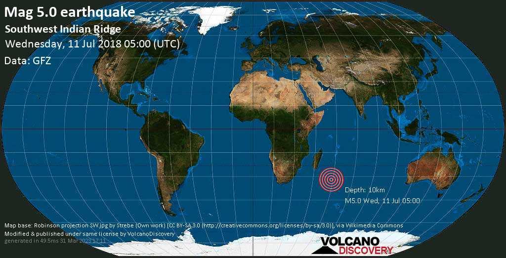 Moderate mag. 5.0 earthquake  - Southwest Indian Ridge on Wednesday, 11 July 2018