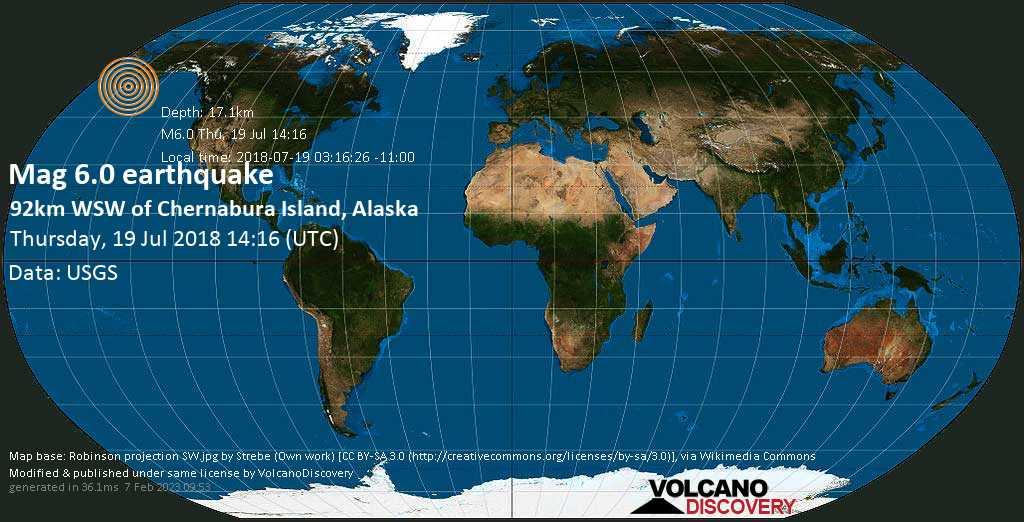 Strong mag. 6.0 earthquake  - 92km WSW of Chernabura Island, Alaska on Thursday, 19 July 2018