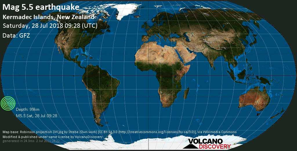 Moderate mag. 5.5 earthquake  - Kermadec Islands, New Zealand on Saturday, 28 July 2018