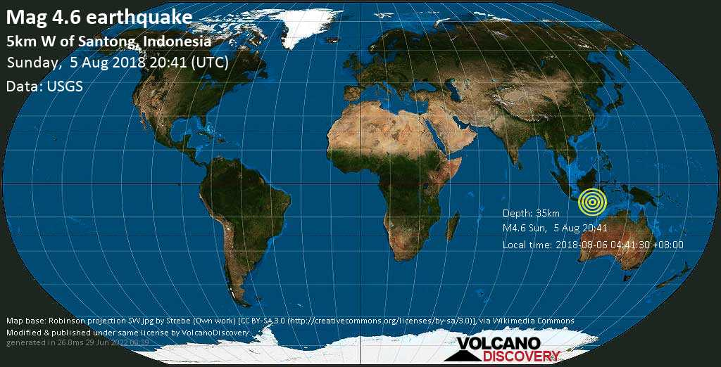 Light mag. 4.6 earthquake  - 5km W of Santong, Indonesia on Sunday, 5 August 2018