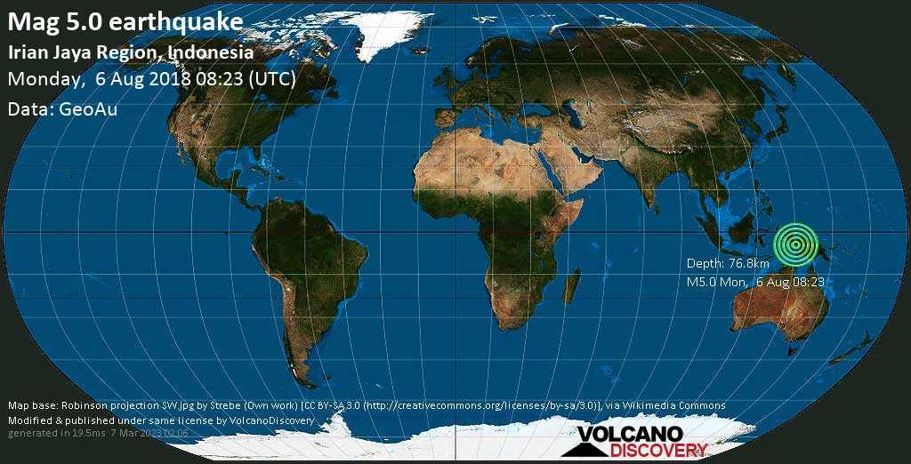 Moderate mag. 5.0 earthquake  - Irian Jaya Region, Indonesia on Monday, 6 August 2018
