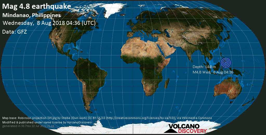 Light mag. 4.8 earthquake  - Mindanao, Philippines on Wednesday, 8 August 2018