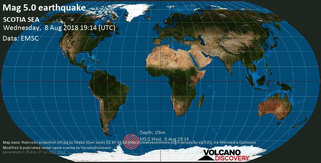 Moderate mag. 5.0 earthquake  - SCOTIA SEA on Wednesday, 8 August 2018