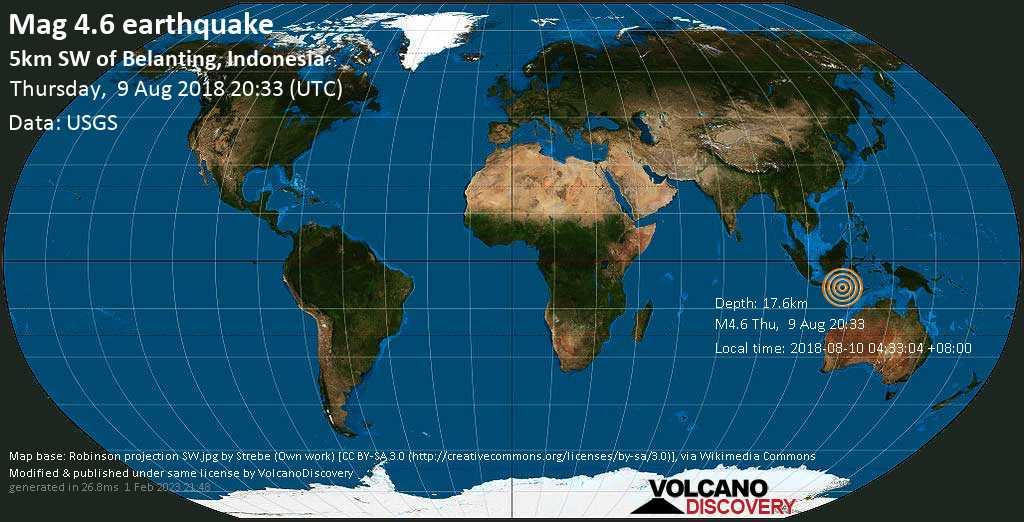 Light mag. 4.6 earthquake  - 5km SW of Belanting, Indonesia on Thursday, 9 August 2018