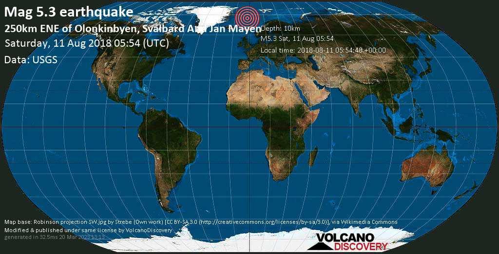 Moderate mag. 5.3 earthquake  - 250km ENE of Olonkinbyen, Svalbard and Jan Mayen on Saturday, 11 August 2018