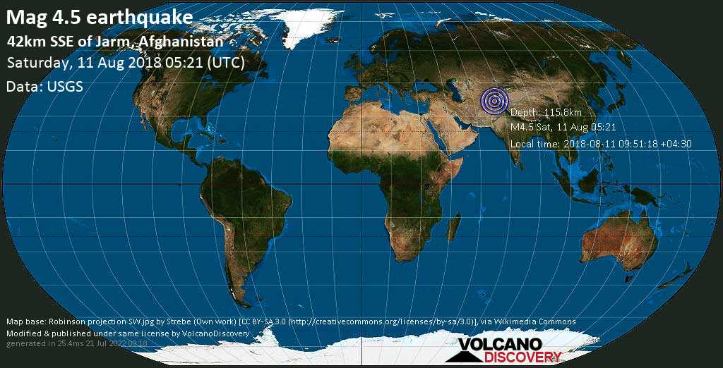 Light mag. 4.5 earthquake  - 42km SSE of Jarm, Afghanistan on Saturday, 11 August 2018