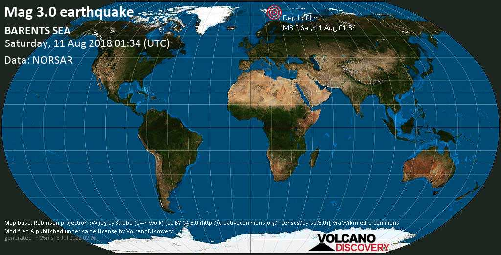 Minor mag. 3.0 earthquake  - BARENTS SEA on Saturday, 11 August 2018