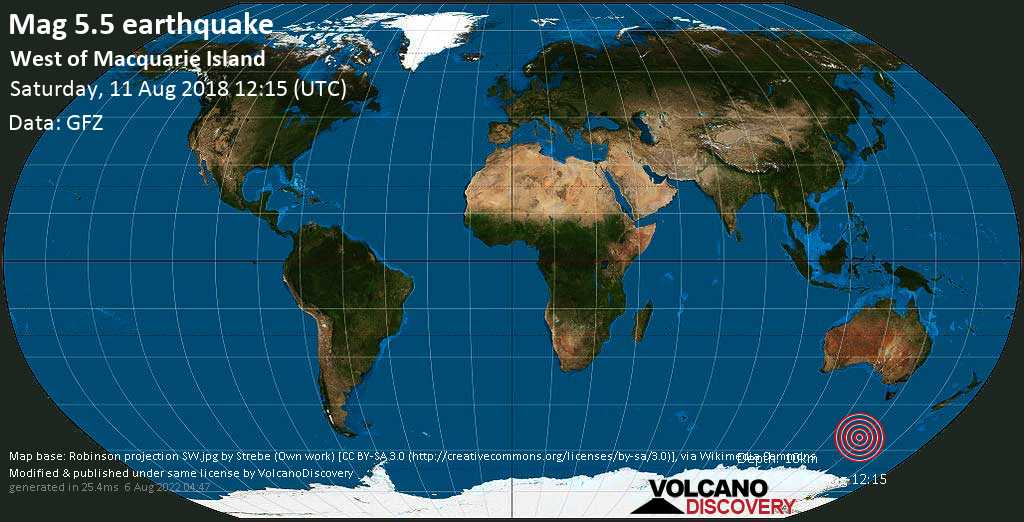 Moderate mag. 5.5 earthquake  - West of Macquarie Island on Saturday, 11 August 2018