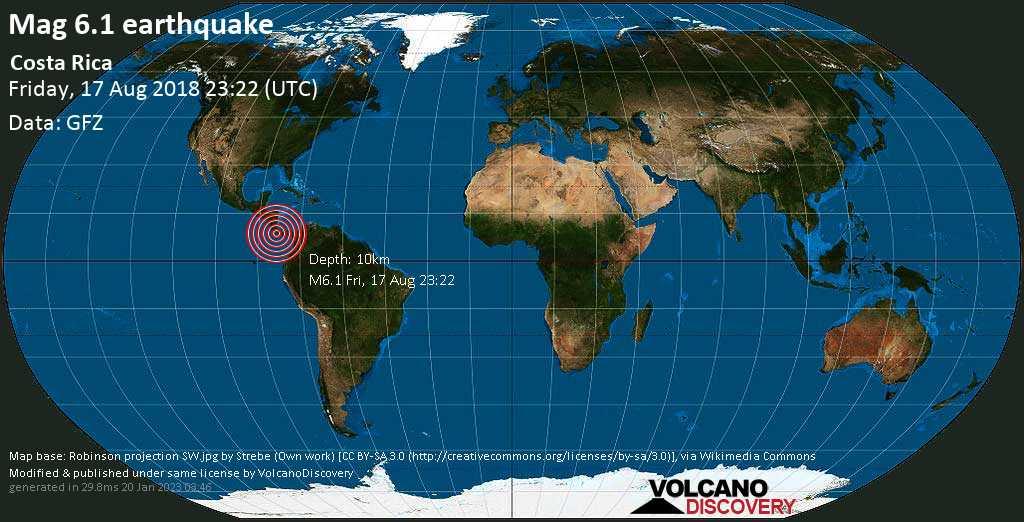 Starkes Erdbeben der Stärke 6.1 - Costa Rica am Freitag, 17. Aug. 2018