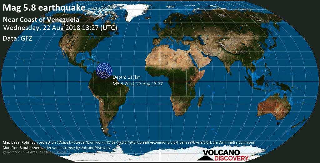 Moderate mag. 5.8 earthquake  - Near Coast of Venezuela on Wednesday, 22 August 2018