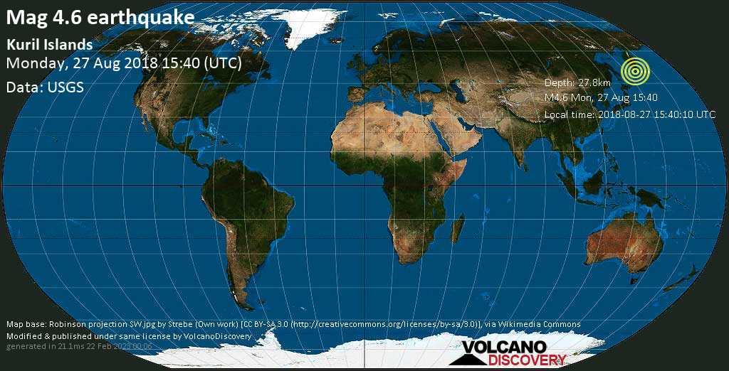Leggero terremoto magnitudine 4.6 - Kuril Islands lunedí, 27 agosto 2018