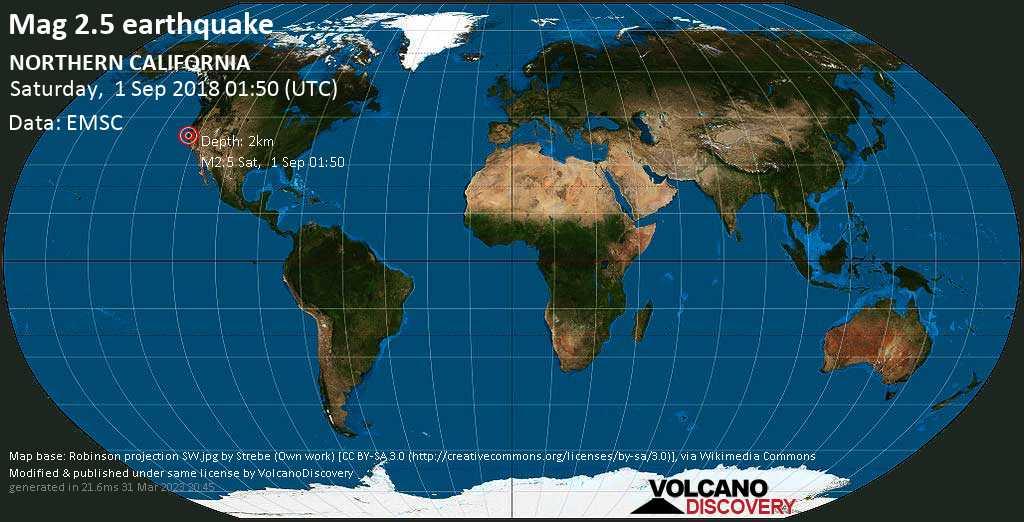 Minor mag. 2.5 earthquake  - NORTHERN CALIFORNIA on Saturday, 1 September 2018