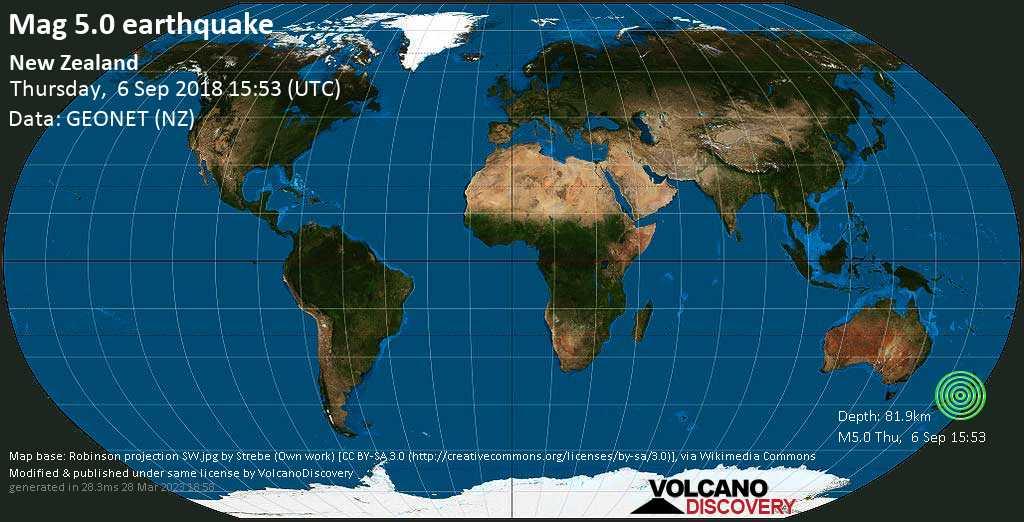 Moderate mag. 5.0 earthquake  - New Zealand on Thursday, 6 September 2018