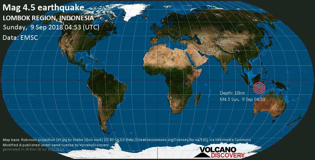 Light mag. 4.5 earthquake  - LOMBOK REGION, INDONESIA on Sunday, 9 September 2018