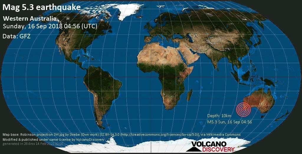 Moderate mag. 5.3 earthquake  - Western Australia on Sunday, 16 September 2018