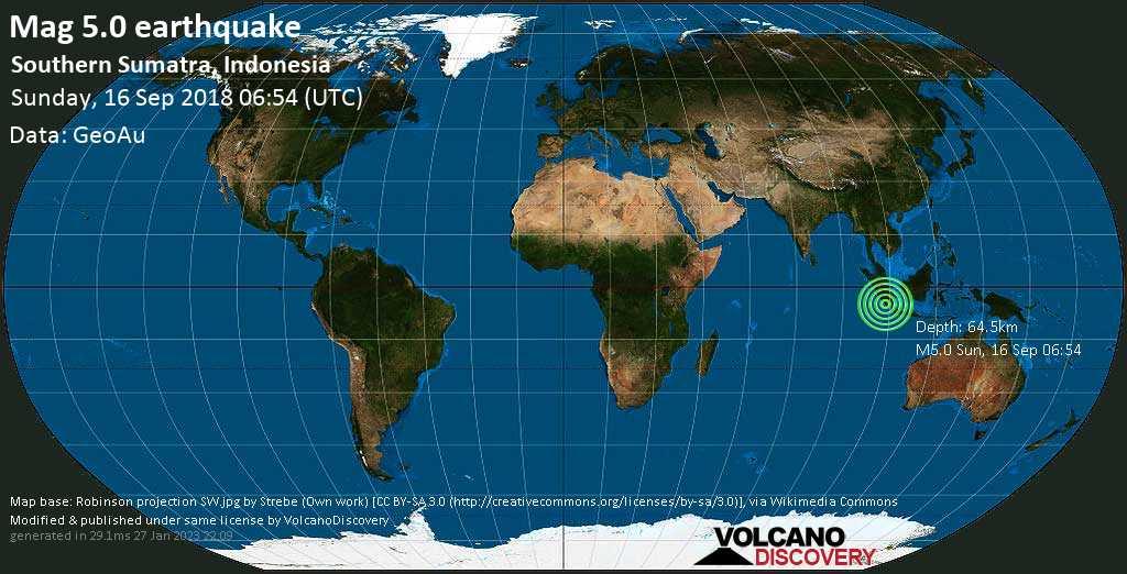 Moderate mag. 5.0 earthquake  - Southern Sumatra, Indonesia on Sunday, 16 September 2018